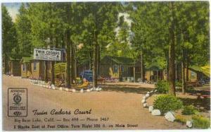 Linen of Twin Cedars Court Big Bear Lake California CA 1953
