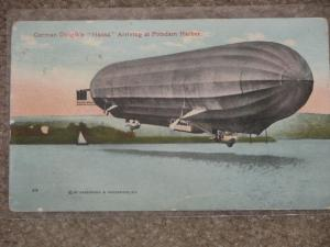 German Dirigible Hansa Arriving at Potsdam Harbor, early vintage card