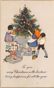 Christmas~Colorful ART DECO~Kids Under Decorated Tree~Toys & Gifts~1920s PC