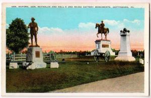 Gen Buford, Gen Reynolds & Hall's 2nd Battery, Gettysburg PA