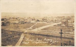 Laramie Wyoming~Birdseye Panorama~Homes~Laundry Line in Backyard~c1918 RPPC
