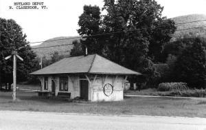 North Clarendon Vermont Rutland train depot real photo pc Z18244