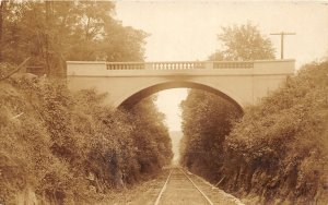 F54/ Madison Indiana RPPC Postcard c1910 Railroad Road Bridge