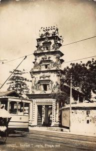 Singapore Indian Temple Tower Tram 1930 real photo Postcard