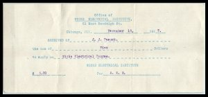 1917 RECEIPT- Wicks Electrical Institute, Chicago, Illinois A2