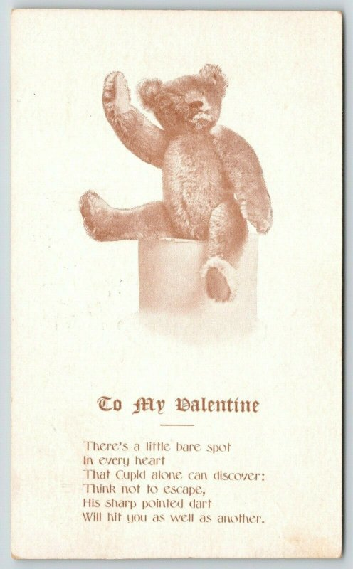 Valentine~Steiff Teddy Bear Waves~Cupid Discovers Bare Spot in Heart~Poem~1907