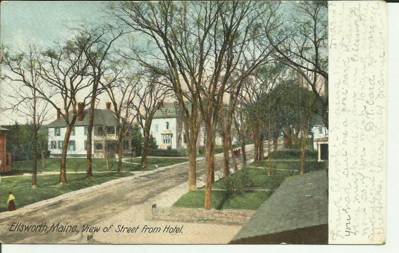Ellsworth, Maine, View Of Street From Hotel