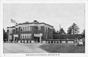 Raymond New Hampshire birds eye view high school auditorium antique pc Z21455
