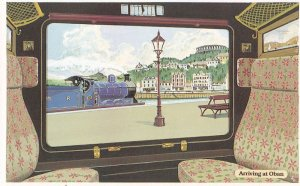 Callander & Oban Carriage Window Scottish Station Train Postcard