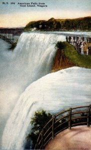 New York Niagara Falls American Falls From Goat Island