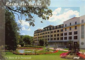 France Bains les Bains de la Promenade Fountain Flowers Postcard