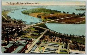 Washington Harbor DC~Bridge Over the Potomac~Birdseye View~Smoke Stack~c1910 PC