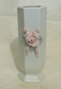 Great small ceramic vase pink flower decoration hexagonal approx. 6¾ ins tall