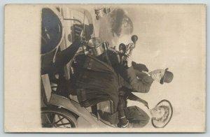 Chicago White City~Squeeze Horn~Steering Wheel~Couple in 40s~Studio Prop~RPPC