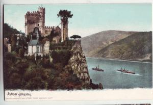 P369 JL old postcard germany schloss rheinstein river and boats