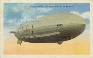 1936 Macon Georgia Postcard: Navy Airship 'Macon' Naming - Rare Due to Error