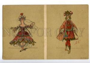 156403 ART NOUVEAU court Costume BALLET by BENOIS Vintage PC
