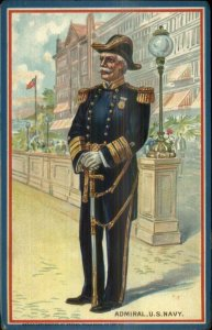 TUCK US Navy Sailor Uniforms Series 405 c1910 Postcard ADMIRAL