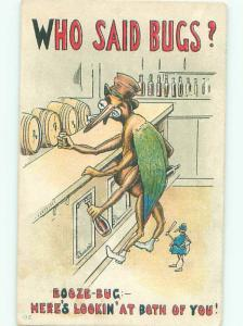 Pre-Linen Comic LARGE HUMANIZED INSECT IS THE BOOZE BUG AC5905