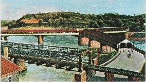 Vintage postcard, Old Y Bridge, Zanesville, Ohio