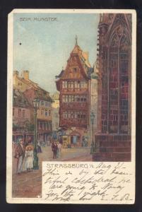 STRASSBURG BEIM MUNSTER STREET SCENE GERMANY ANTIQUE VINTAGE POSTCARD