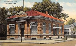 Davenport Iowa~Home Savings Bank~W Third Street~House Behind~1913 Adv Postcard