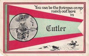 CUTLER, Maine, PU-1913; Cowboy, Flag, Lassoing a Bull