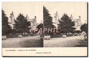 Stereoscopic map - Les Roches - Chateau of Madame de Sevigne - Old Postcard