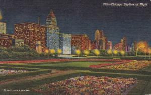 Illinois Chicago Skyline At Night 1958 Curteich