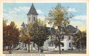 Rochester Minnesota~Catholic Church~Parsonage~Nuns on Street~1920 Postcard