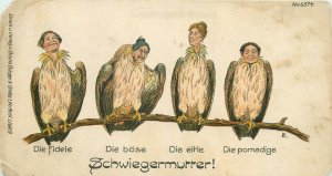 Comic mother-in-law eagle types caricature trimmed early postcard