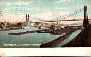 Pennsylvania Pittsburgh Coal Boat At Point Bridge 1910