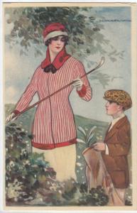 T. CORBELLA ; Art Deco Female Golfer Portrait , 1910s