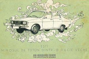 Romanian Dacia car The Kriptonite Sparks advertising postcard