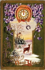 A Lucky New Year - Horseshoe - Clock Winter Scene - Vintage - POSTCARD PC POSTED