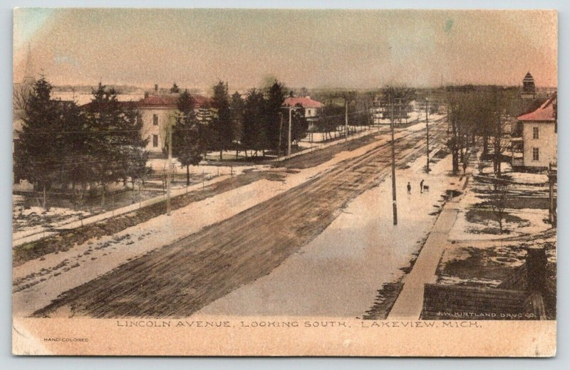 Lakeview Michigan~Lincoln Avenue Homes~Looking South~Kids in Snow~1908 Handcolor