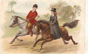 Elegant couple. Riding horses Old vintage antique Dutch poatcard