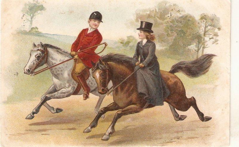 Elegant couple. Riding horses Old vintage antique Dutch poatcard
