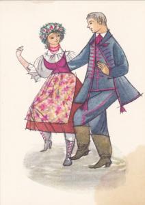 POLAND, Dancing Couple art postcard , 40-50s ; #5