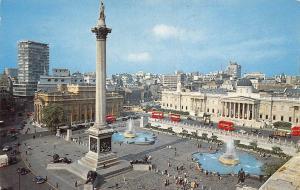 London Trafalgar Square Statues Fountains Busses Vintage Cars Auto