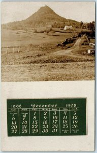 Vintage RPPC Real Photo Postcard Mountain View w/ Dec 1908 Calendar