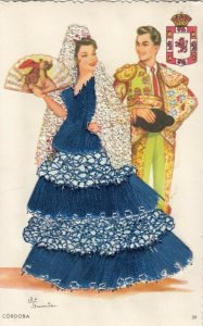 AS: CORDOBA, Spain 1950-60s ; Embroidered Woman & Bull Fighter, Coat of Arms