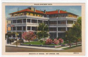 Bigler Apartment Hotel Hot Springs Arkansas 1944 postcard