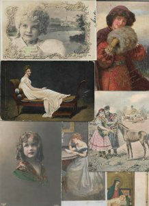 Artist Signed Fantasy People Kids  And More Postcard Lot of 15 01.12