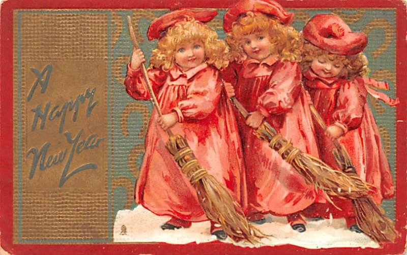New Years Post Card A Happy New Year Children Sweeping Snow 1908
