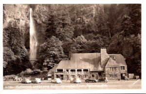 Oregon  Columbia River Highway Multnomah Lodge and Falls Real Photo