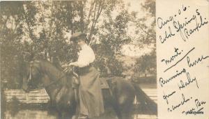 1906 Cold Springs Ranch Woman Horse Montana RPPC Real photo postcard 10585