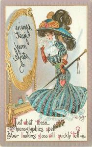 c1910 Dwig Big Hat Fashion Woman Mirror Puzzle Not My Style Comic Humor Postcard