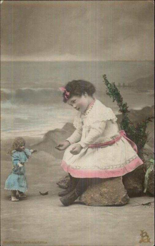 Little Girl & Baby Dolly at Beach c1910 Tinted Real Photo Postcard