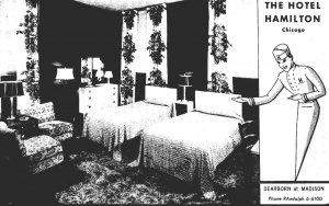 Illinois Chicago Hotel Hamilton Typical Room 1951